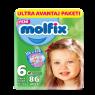 Molfix Çocuk Bezi 3D Extra Large 86'lı Ultra Avanttaj Paketi Çift Sıra (Poş