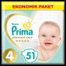 Prima Çocuk Bezi Premium Care Ekonomik 4 No 51 Lı